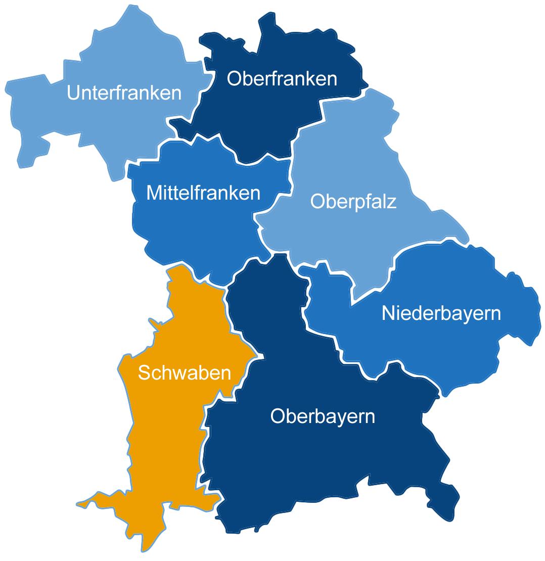 StepMap - DHV Bezirk - Schwaben - Landkarte für Deutschland